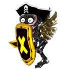 Skeleton Pirate - with Shield and Wings